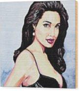 Angelina Jolie Portrait Wood Print