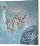 Angels Above Wood Print