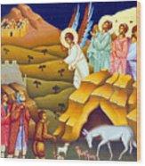 Angels And Shepherds Wood Print
