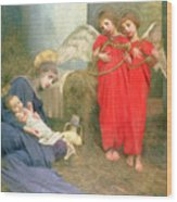 Angels Entertaining The Holy Child Wood Print