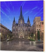 Angels Flying In Front Of The Cathedral Of The Holy Cross And Sa Wood Print