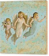 Angels Three Children Vintage Wood Print