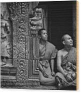 Angkok Wat Buddhist Monks Gather Wood Print