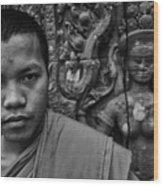 Angkor Watbuddhist Monk Portrait Wood Print
