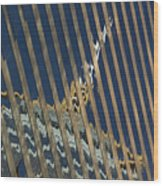 Angled Reflection Of Central Plaza In Skyscraper  Wood Print