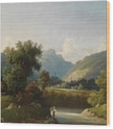Angler By A Stream Wood Print