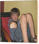 Angry Boy Pointing The Accusing Finger Wood Print