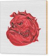 Angry Bulldog Head Drawing Wood Print