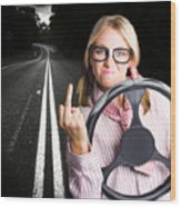 Angry Business Woman Expressing Road Rage Wood Print