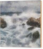 Angry Sea Wood Print