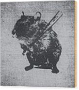 Angry Street Art Mouse  Hamster Baseball Edit  Wood Print