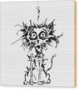 Angst Cat Wood Print
