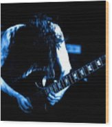 Angus Young On Guitar Wood Print