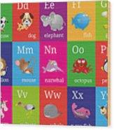 Animal Alphabet Wood Print