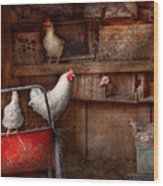 Animal - Chicken - The Duck Is A Spy  Wood Print by Mike Savad