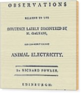 Animal Electricity, Title Page Wood Print