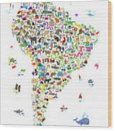 Animal Map Of South America For Children And Kids Wood Print