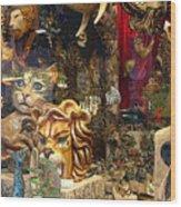 Animal Masks From Venice Wood Print
