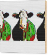 Animals Cows Three Pop Art Cows Warhol Style Wood Print
