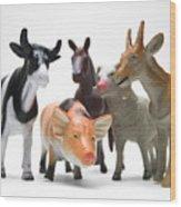 Animals Figurines Wood Print