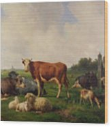 Animals Grazing In A Meadow  Wood Print by Hendrikus van de Sende Baachyssun