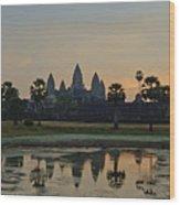 Angkor Wat Sunrise Pond Wood Print