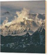 Annapurna Mountain Range In Evening Sunlight Wood Print