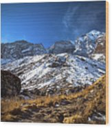 Annapurna Trail With Snow Mountain Background In Nepal Wood Print