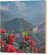 Annapurnas And Prayer Flags Wood Print
