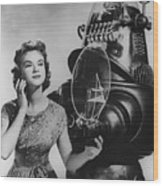 Anne Francis Movie Photo Forbidden Planet With Robby The Robot Wood Print