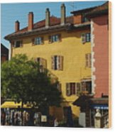 Annecy Town Square Wood Print