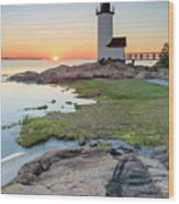 Annisquam Lighthouse Sunset Vertical Wood Print