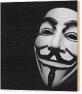 Anonymous V For Vendetta Mask Wood Print