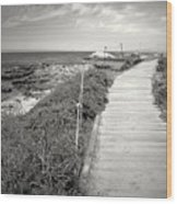 Another Asilomar Beach Boardwalk Black And White Wood Print