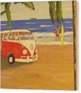 Another Groovy Beach Weekend Wood Print