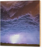 Another Impressive Nebraska Night Thunderstorm 007 Wood Print