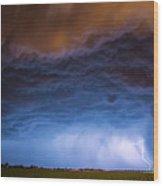 Another Impressive Nebraska Night Thunderstorm 008/ Wood Print