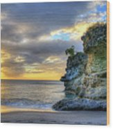 Anse Mamin Rock Formation At Sunset Saint Lucia Caribbean Sunset Wood Print