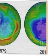 Antarctic Ozone Hole, 1979 And 2015 Wood Print