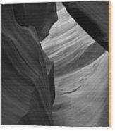 Antelope Canyon Erosions Bw Wood Print