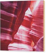 Antelope Slot Canyon Varying Colors From Impinging Sunlight Wood Print