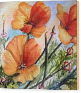 Antelope Valley Poppy Fields Wood Print