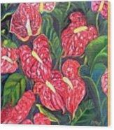 Anthurium Flowers Wood Print