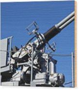 Anti Aircraft Turret Defense Guns On A Navy Ship Wood Print
