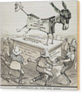 Anti-greenback Cartoon Wood Print