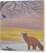 Anticipation -  Red Fox Wood Print
