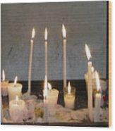 Antigua Church Candles Wood Print