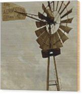 Antique Aermotor Windmill Wood Print