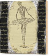 Antique Ballet Wood Print