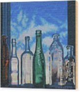 Antique Bottles At Dawn Wood Print